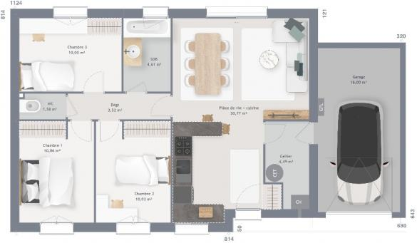 Maison+Terrain à vendre .(75 m²)(DOUDEAUVILLE) avec (MAISONS FRANCE CONFORT)