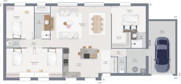Maison+Terrain à vendre .(120 m²)(BELLE ET HOULLEFORT) avec (MAISONS FRANCE CONFORT)