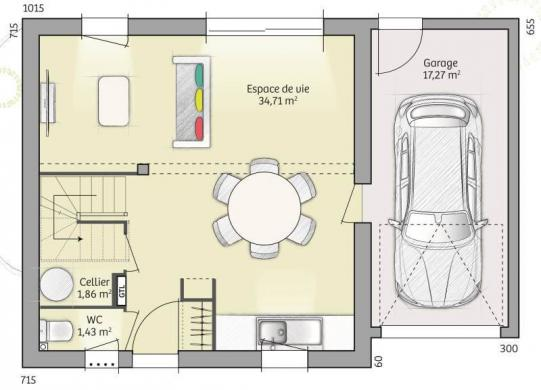Maison+Terrain à vendre .(74 m²)(MERU) avec (MAISONS FRANCE CONFORT)