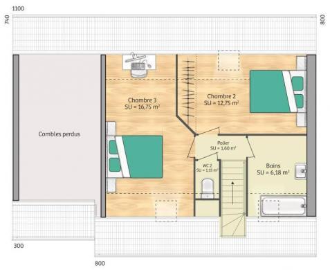 Maison+Terrain à vendre .(76 m²)(BENNECOURT) avec (MAISONS FRANCE CONFORT)