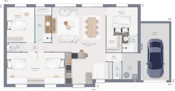 Maison+Terrain à vendre .(105 m²)(VALLIQUERVILLE) avec (MAISONS FRANCE CONFORT)