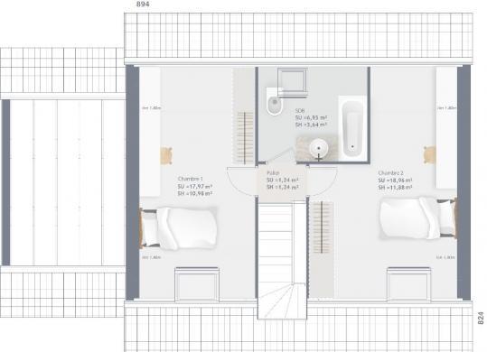Maison+Terrain à vendre .(85 m²)(ENVRONVILLE) avec (MAISONS FRANCE CONFORT)