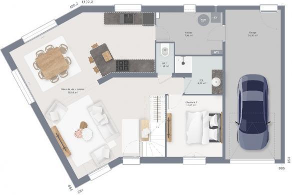 Maison+Terrain à vendre .(110 m²)(SAINT JEAN DU CARDONNAY) avec (MAISONS FRANCE CONFORT)