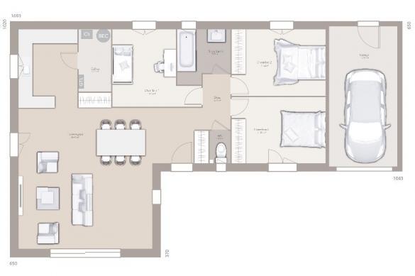 Maison+Terrain à vendre .(95 m²)(QUINCIEUX) avec (MAISONS FRANCE CONFORT)