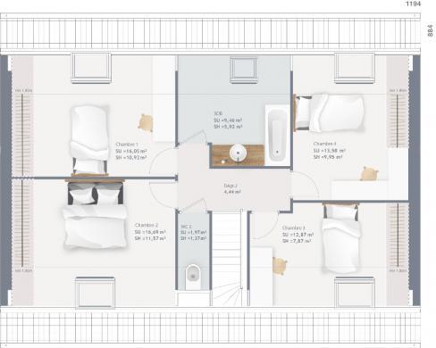 Maison+Terrain à vendre .(110 m²)(FONTAINE AU PIRE) avec (MAISONS FRANCE CONFORT)