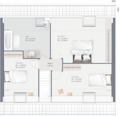 Maison+Terrain à vendre .(100 m²)(HARNES) avec (MAISONS FRANCE CONFORT)