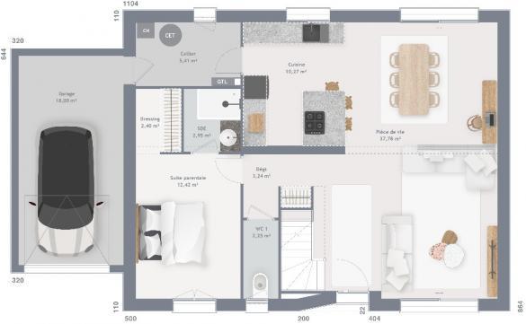 Maison+Terrain à vendre .(115 m²)(LEWARDE) avec (MAISONS FRANCE CONFORT)
