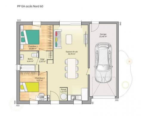 Maison+Terrain à vendre .(60 m²)(OUVILLE LA RIVIERE) avec (MAISONS FRANCE CONFORT)