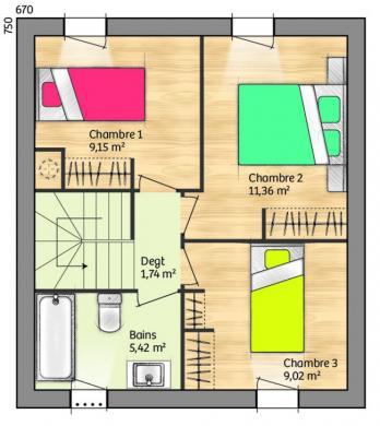 Maison+Terrain à vendre .(75 m²)(CAUX) avec (MAISONS FRANCE CONFORT)