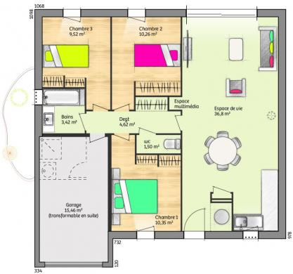 Maison+Terrain à vendre .(76 m²)(VILLETELLE) avec (MAISONS FRANCE CONFORT)