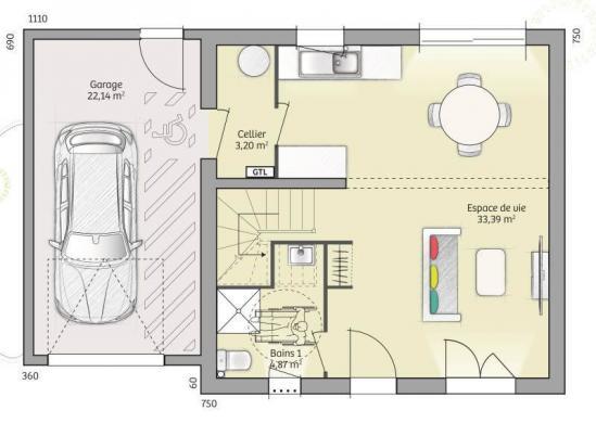 Maison+Terrain à vendre .(81 m²)(NANGIS) avec (MAISONS FRANCE CONFORT)