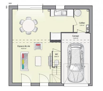 Maison+Terrain à vendre .(89 m²)(LE PLESSIS BELLEVILLE) avec (MAISONS FRANCE CONFORT)