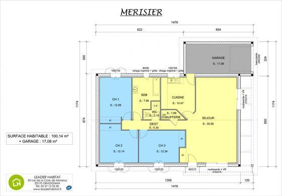 Maison+Terrain à vendre .(100 m²)(CADAUJAC) avec (LEADER HABITAT)