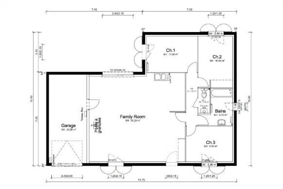 Maison+Terrain à vendre .(83 m²)(LAUDUN) avec (MAISONS PUNCH)