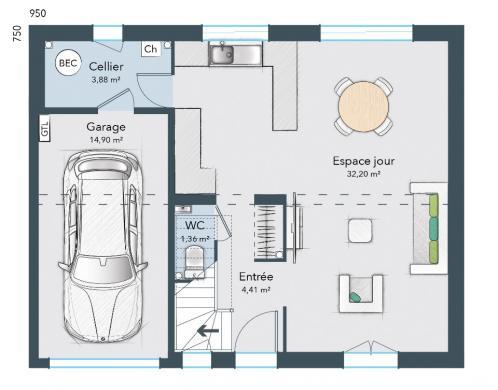 Maison+Terrain à vendre .(90 m²)(MARDIE) avec (MAISONS FRANCE CONFORT)