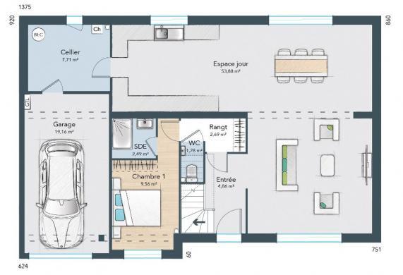 Maison+Terrain à vendre .(115 m²)(BOIGNY SUR BIONNE) avec (MAISONS FRANCE CONFORT)
