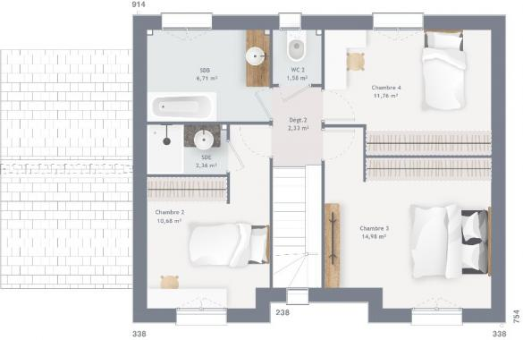 Maison+Terrain à vendre .(100 m²)(LA CHAPELLE SAINT MESMIN) avec (MAISONS FRANCE CONFORT)