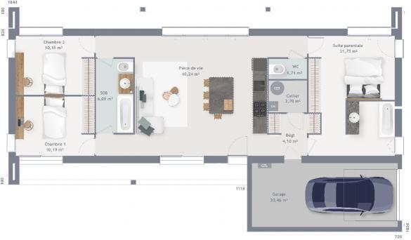 Maison+Terrain à vendre .(95 m²)(OLIVET) avec (MAISONS FRANCE CONFORT)