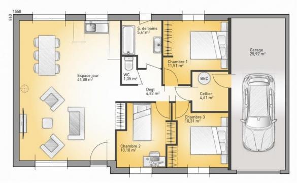 Maison+Terrain à vendre .(92 m²)(BRAILLANS) avec (MAISONS FRANCE CONFORT)