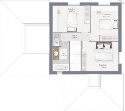 Maison+Terrain à vendre .(125 m²)(BURGILLE) avec (MAISONS FRANCE CONFORT)