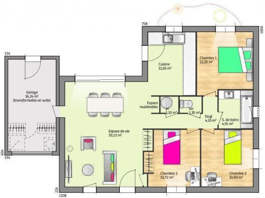 Maison+Terrain à vendre .(90 m²)(GAJA ET VILLEDIEU) avec (MAISONS FRANCE CONFORT)