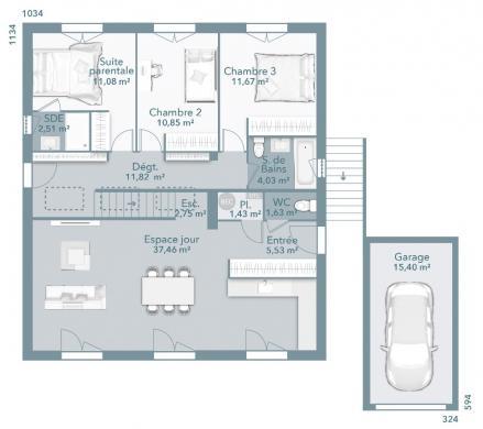 Maison+Terrain à vendre .(100 m²)(LIMOUX) avec (MAISONS FRANCE CONFORT)