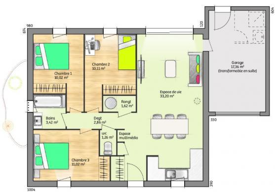 Maison+Terrain à vendre .(74 m²)(CARCASSONNE) avec (MAISONS FRANCE CONFORT)
