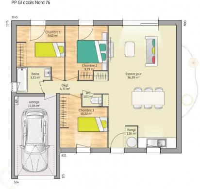 Maison+Terrain à vendre .(76 m²)(COLLEVILLE MONTGOMERY) avec (MAISONS FRANCE CONFORT)