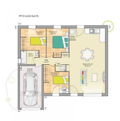 Maison+Terrain à vendre .(76 m²)(SAINT JOUIN) avec (MAISONS FRANCE CONFORT)