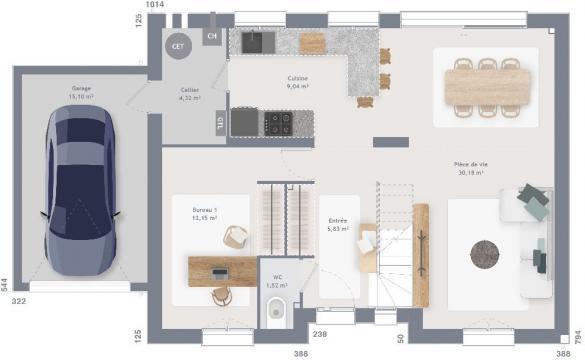 Maison+Terrain à vendre .(120 m²)(FONTENAY LE MARMION) avec (MAISONS FRANCE CONFORT)