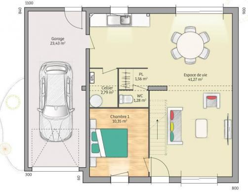 Maison+Terrain à vendre .(89 m²)(GRAINVILLE LANGANNERIE) avec (MAISONS FRANCE CONFORT)