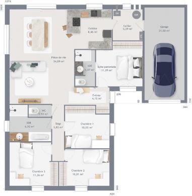 Maison+Terrain à vendre .(106 m²)(AMFREVILLE) avec (MAISONS FRANCE CONFORT)