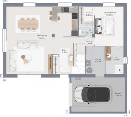 Maison+Terrain à vendre .(125 m²)(AMFREVILLE) avec (MAISONS FRANCE CONFORT)