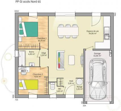 Maison+Terrain à vendre .(65 m²)(AMFREVILLE) avec (MAISONS FRANCE CONFORT)