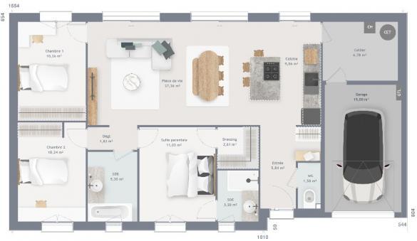 Maison+Terrain à vendre .(95 m²)(COURSEULLES SUR MER) avec (MAISONS FRANCE CONFORT)