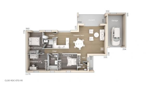 Maison+Terrain à vendre .(95 m²)(VENTABREN) avec (LES MAISONS DE MANON)