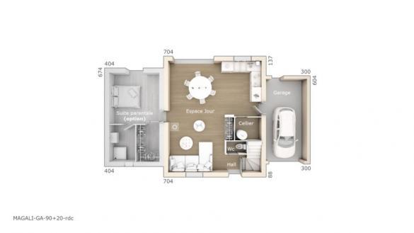 Maison+Terrain à vendre .(90 m²)(LA DESTROUSSE) avec (LES MAISONS DE MANON)