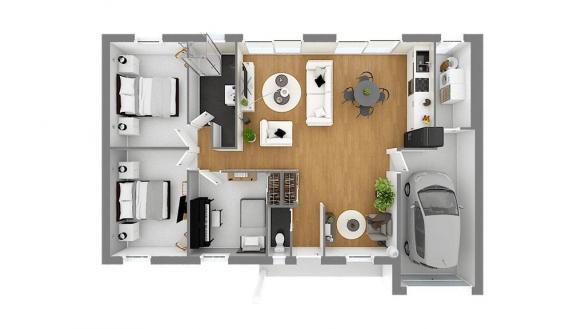 Maison+Terrain à vendre .(88 m²)(MONTJAVOULT) avec (HABITAT CONCEPT)