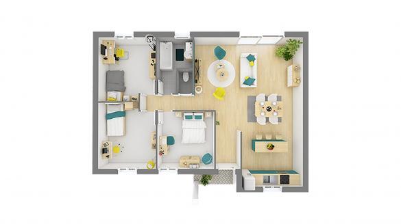 Maison+Terrain à vendre .(76 m²)(CUY SAINT FIACRE) avec (HABITAT CONCEPT)
