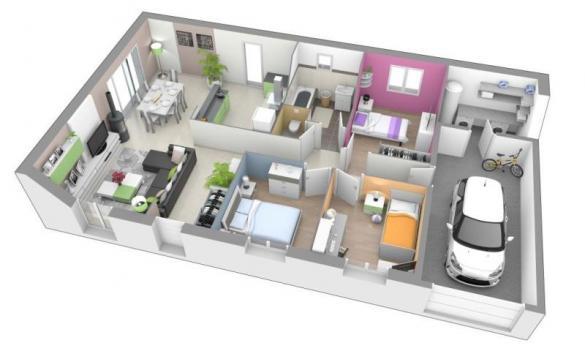 Maison+Terrain à vendre .(90 m²)(SAINT MARTIN DU MONT) avec (MAISONS AXIAL - BOURG EN BRESSE)