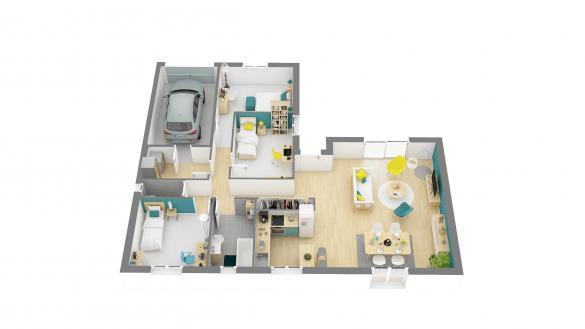 Maison+Terrain à vendre .(92 m²)(ISIGNY SUR MER) avec (HABITAT CONCEPT)