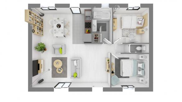 Maison+Terrain à vendre .(68 m²)(BONNIERES SUR SEINE) avec (MAISONS.COM)