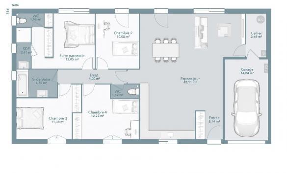 Maison+Terrain à vendre .(113 m²)(SAINT ELIX LE CHATEAU) avec (MAISONS FRANCE CONFORT)