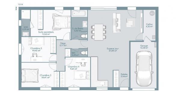 Maison+Terrain à vendre .(103 m²)(LAGARDELLE SUR LEZE) avec (MAISONS FRANCE CONFORT)