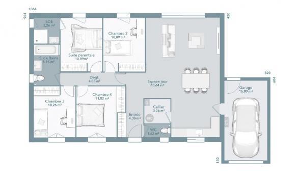 Maison+Terrain à vendre .(105 m²)(LAGARDELLE SUR LEZE) avec (MAISONS FRANCE CONFORT)