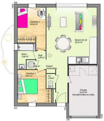 Maison+Terrain à vendre .(61 m²)(CAROMB) avec (LES MAISONS DE MANON)