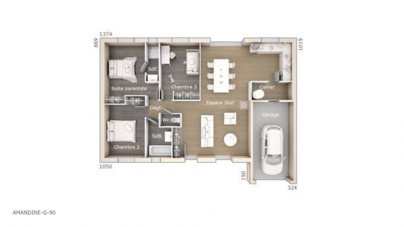 Maison+Terrain à vendre .(90 m²)(PERNES LES FONTAINES) avec (LES MAISONS DE MANON)