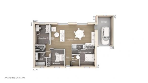 Maison+Terrain à vendre .(90 m²)(SAUZET) avec (LES MAISONS DE MANON)