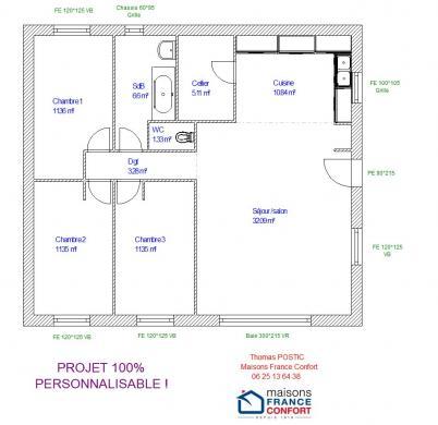 Maison+Terrain à vendre .(93 m²)(LE BRUSQUET) avec (MAISONS FRANCE CONFORT)