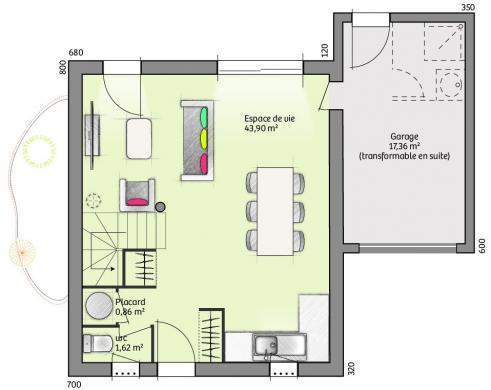 Maison+Terrain à vendre .(88 m²)(MIRABEAU) avec (MAISONS FRANCE CONFORT)